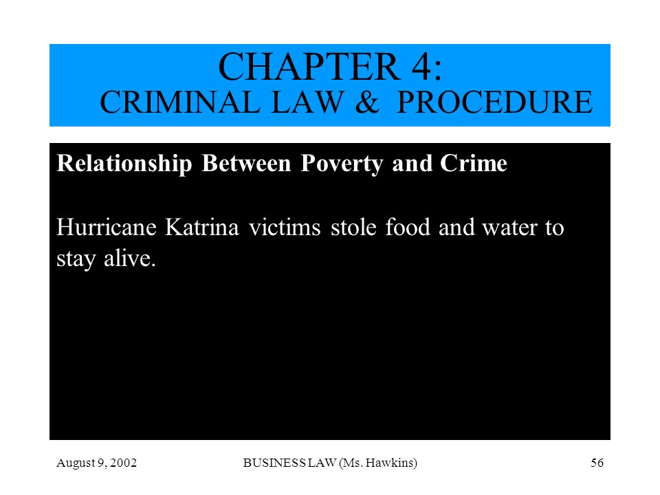 August 9, 2002BUSINESS LAW (Ms. Hawkins)56 http://dictionary.law.com/ Relationship Between Poverty and Crime Hurricane Katrina victims stole food and