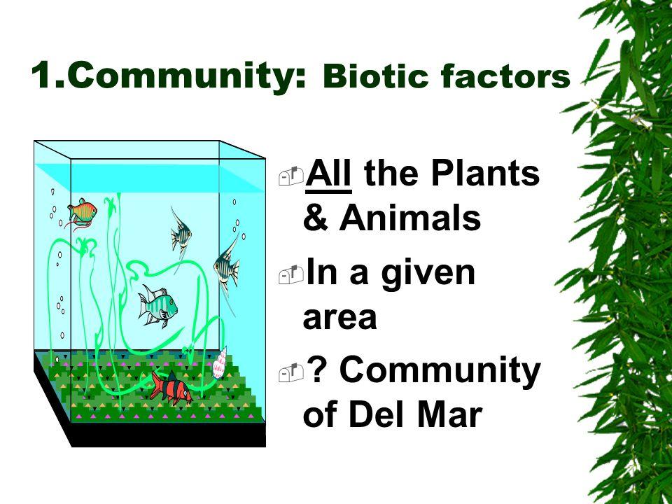 Biotic & Abiotic Factors Biotic = Living organisms Abiotic = Nonliving Soil,Air,Water Substrate