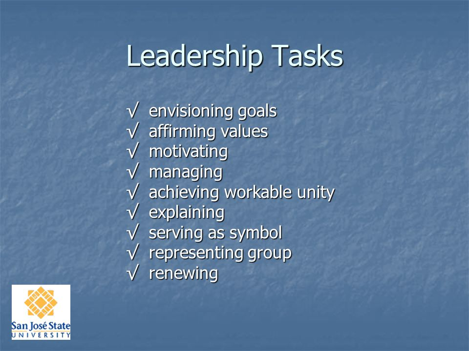Leadership Tasks Tasks Skills Skills Attributes Attributes