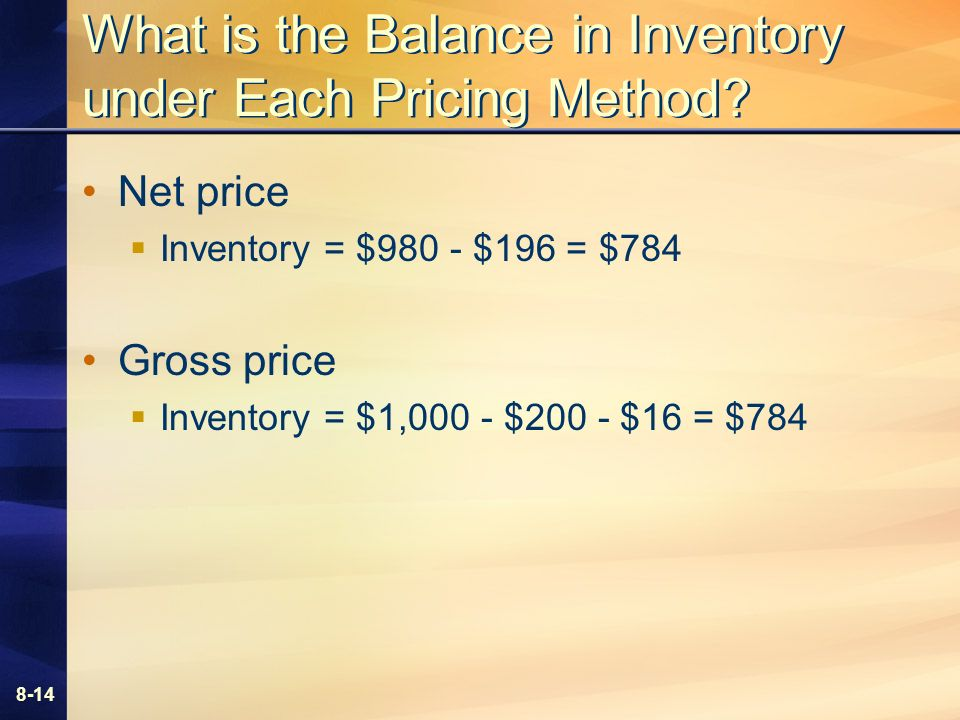 8-14 What is the Balance in Inventory under Each Pricing Method.