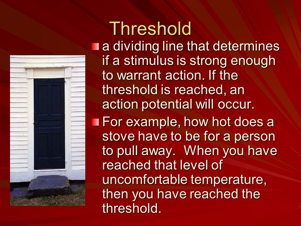 Threshold a dividing line that determines if a stimulus is strong enough to warrant action. If the threshold is reached, an action potential will occu