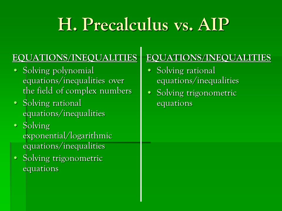 H. Precalculus vs. AIP EQUATIONS/INEQUALITIES Solving polynomial equations/inequalities over the field of complex numbersSolving polynomial equations/
