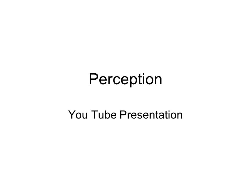 Perception You Tube Presentation