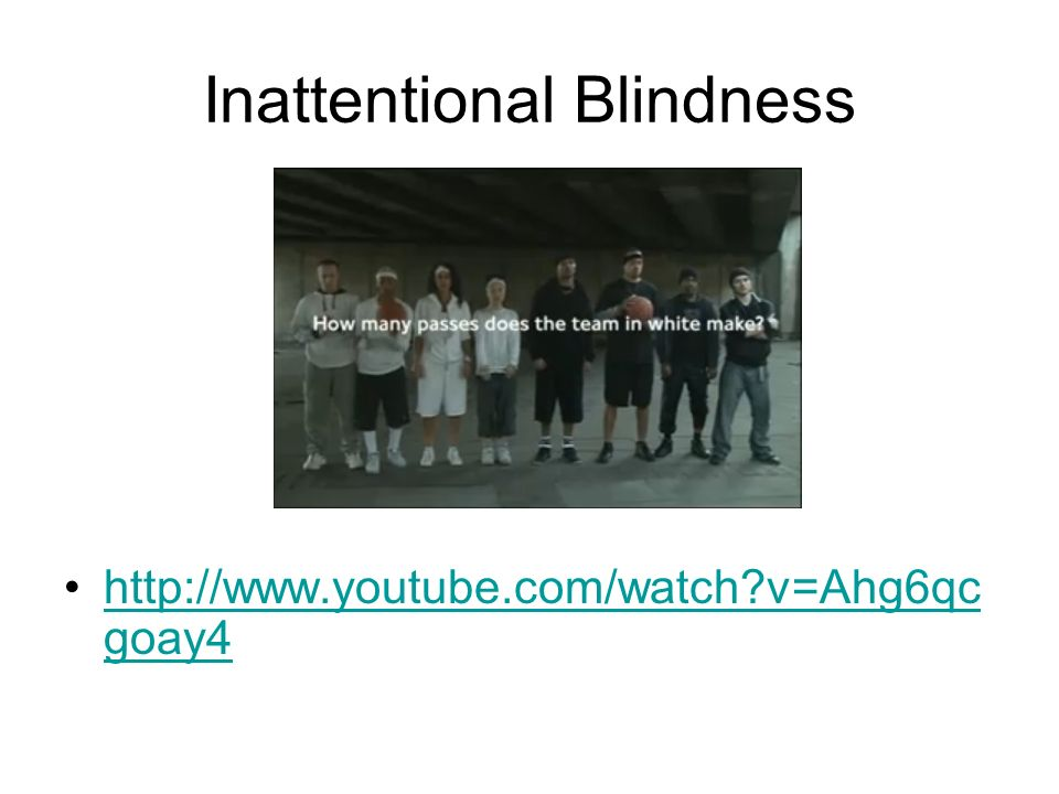 Inattentional Blindness http://www.youtube.com/watch v=Ahg6qc goay4http://www.youtube.com/watch v=Ahg6qc goay4