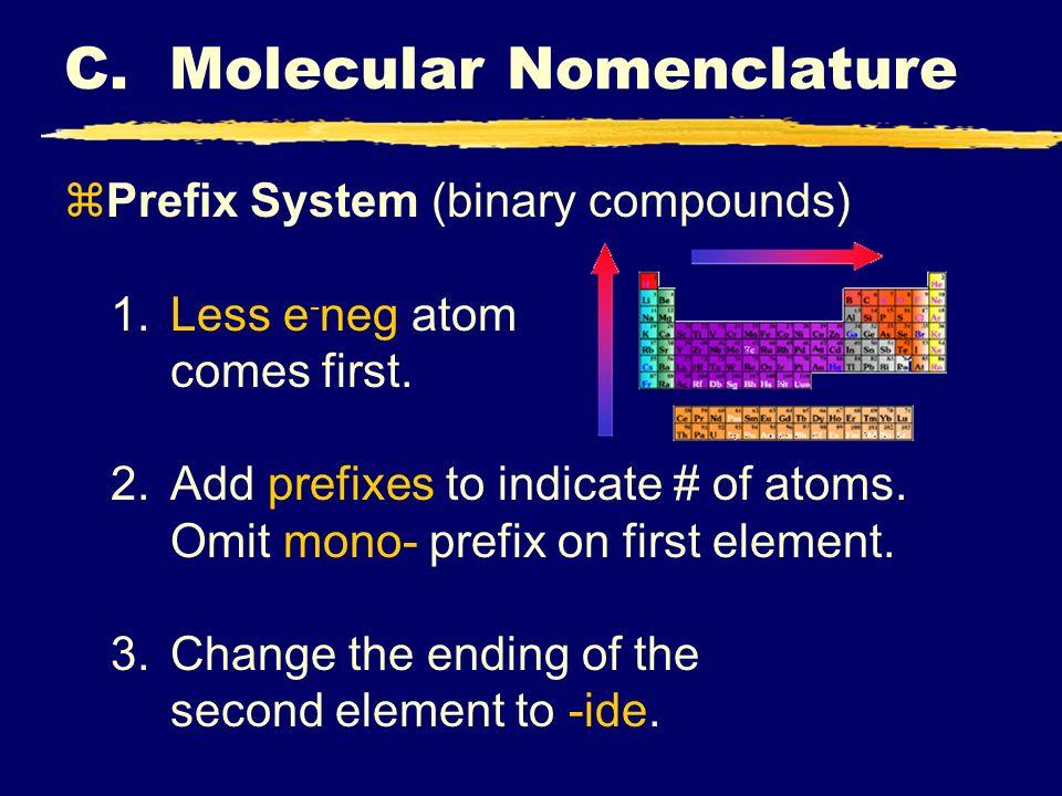 C. Molecular Nomenclature zPrefix System (binary compounds) 1.Less e - neg atom comes first.