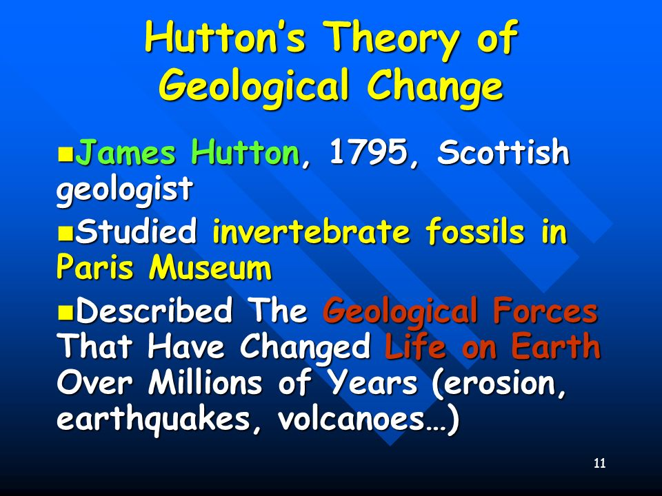 11 Huttons Theory of Geological Change James Hutton, 1795, Scottish geologist James Hutton, 1795, Scottish geologist Studied invertebrate fossils in P