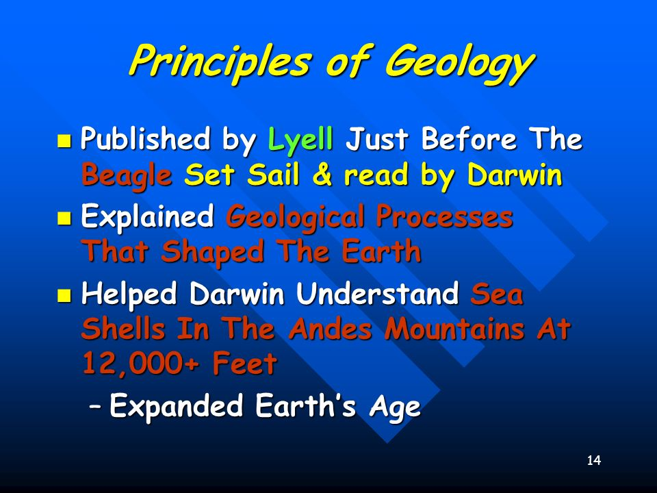 14 Principles of Geology Published by Lyell Just Before The Beagle Set Sail & read by Darwin Published by Lyell Just Before The Beagle Set Sail & read