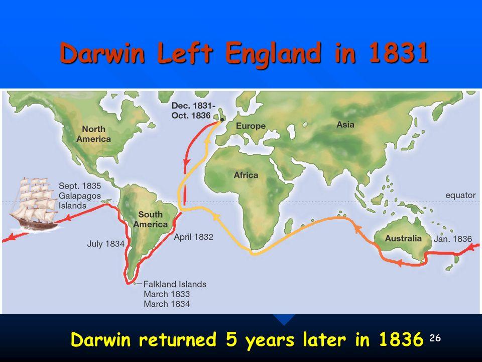 26 Darwin Left England in 1831 Darwin returned 5 years later in 1836