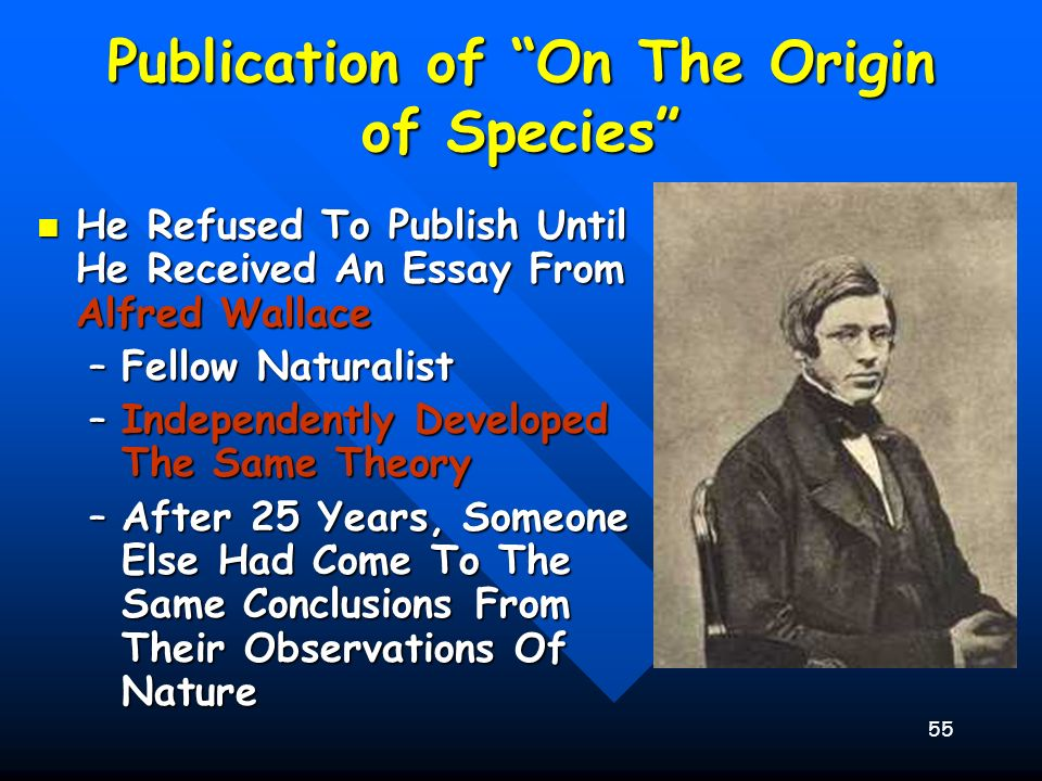 55 Publication of On The Origin of Species He Refused To Publish Until He Received An Essay From Alfred Wallace He Refused To Publish Until He Receive