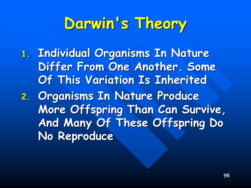 95 Darwin's Theory 1. Individual Organisms In Nature Differ From One Another. Some Of This Variation Is Inherited 2. Organisms In Nature Produce More