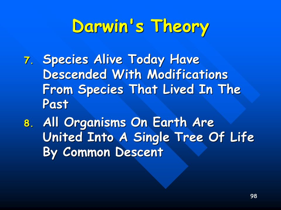 98 Darwin's Theory 7. Species Alive Today Have Descended With Modifications From Species That Lived In The Past 8. All Organisms On Earth Are United I