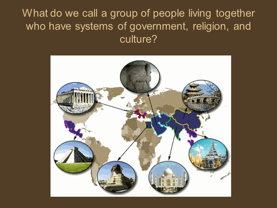 What do we call a group of people living together who have systems of government, religion, and culture?