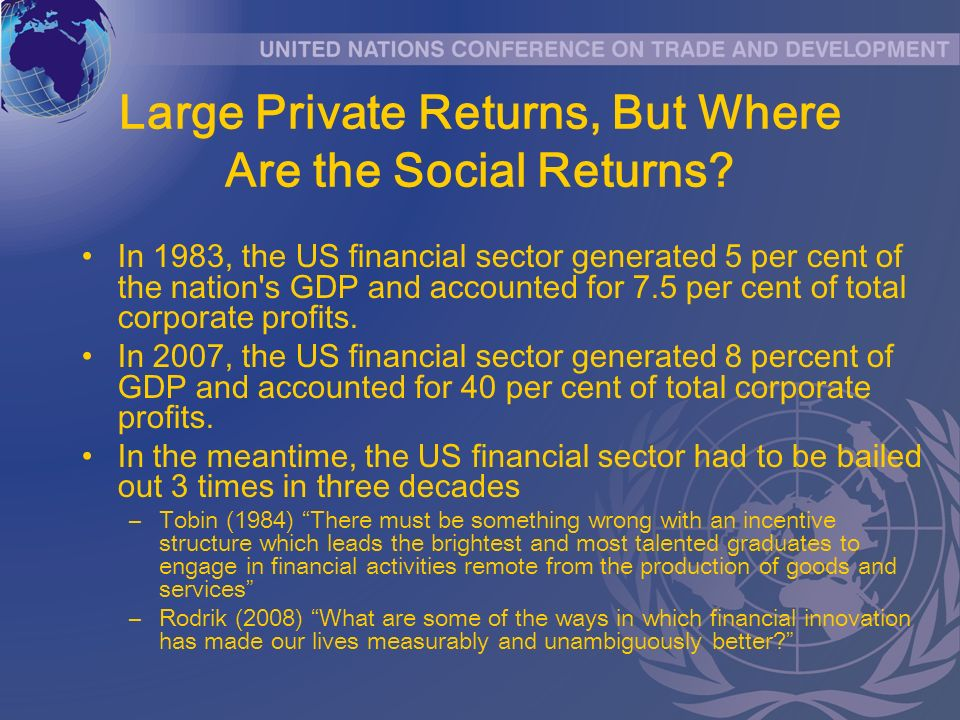 Large Private Returns, But Where Are the Social Returns? In 1983, the US financial sector generated 5 per cent of the nation's GDP and accounted for 7