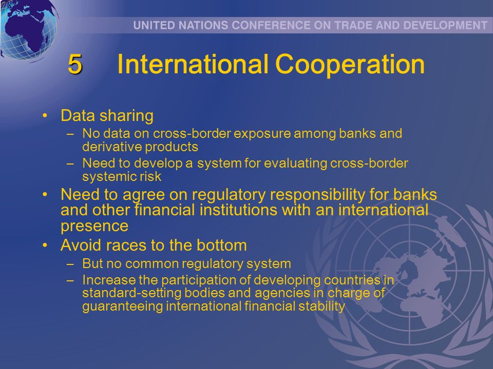 5 5International Cooperation Data sharing –No data on cross-border exposure among banks and derivative products –Need to develop a system for evaluati
