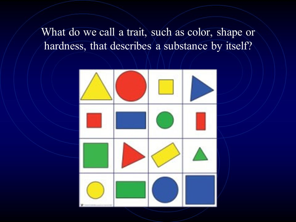 What do we call a trait, such as color, shape or hardness, that describes a substance by itself?