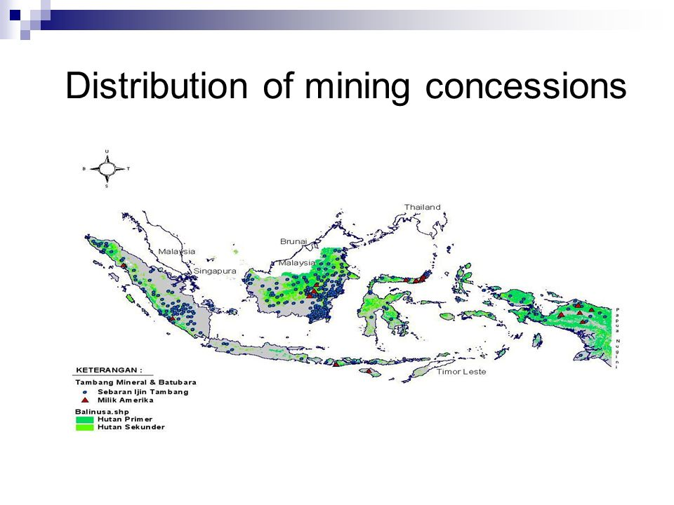 Distribution of mining concessions
