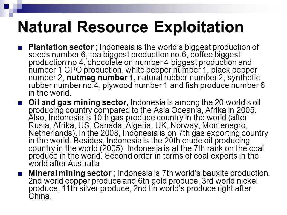 Natural Resource Exploitation Plantation sector ; Indonesia is the worlds biggest production of seeds number 6, tea biggest production no.6, coffee biggest production no 4, chocolate on number 4 biggest production and number 1 CPO production, white pepper number 1, black pepper number 2, nutmeg number 1, natural rubber number 2, synthetic rubber number no.4, plywood number 1 and fish produce number 6 in the world.