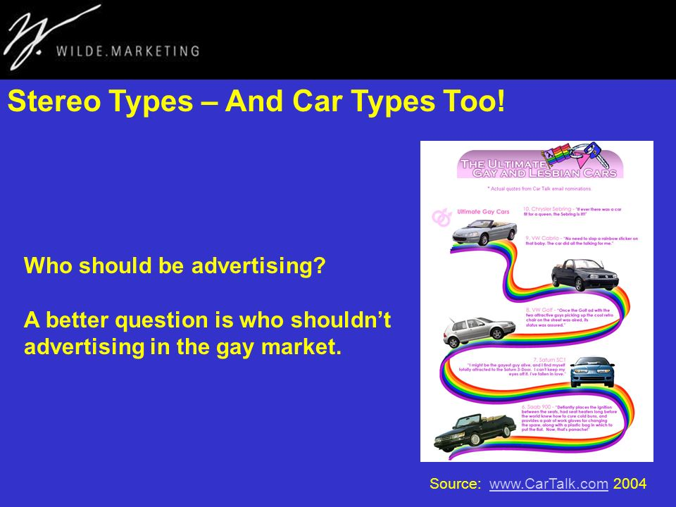 Stereo Types – And Car Types Too! Source: www.CarTalk.com 2004www.CarTalk.com Who should be advertising? A better question is who shouldnt advertising