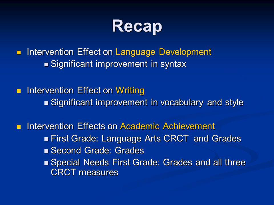 Recap Intervention Effect on Language Development Intervention Effect on Language Development Significant improvement in syntax Significant improvement in syntax Intervention Effect on Writing Intervention Effect on Writing Significant improvement in vocabulary and style Significant improvement in vocabulary and style Intervention Effects on Academic Achievement Intervention Effects on Academic Achievement First Grade: Language Arts CRCT and Grades First Grade: Language Arts CRCT and Grades Second Grade: Grades Second Grade: Grades Special Needs First Grade: Grades and all three CRCT measures Special Needs First Grade: Grades and all three CRCT measures