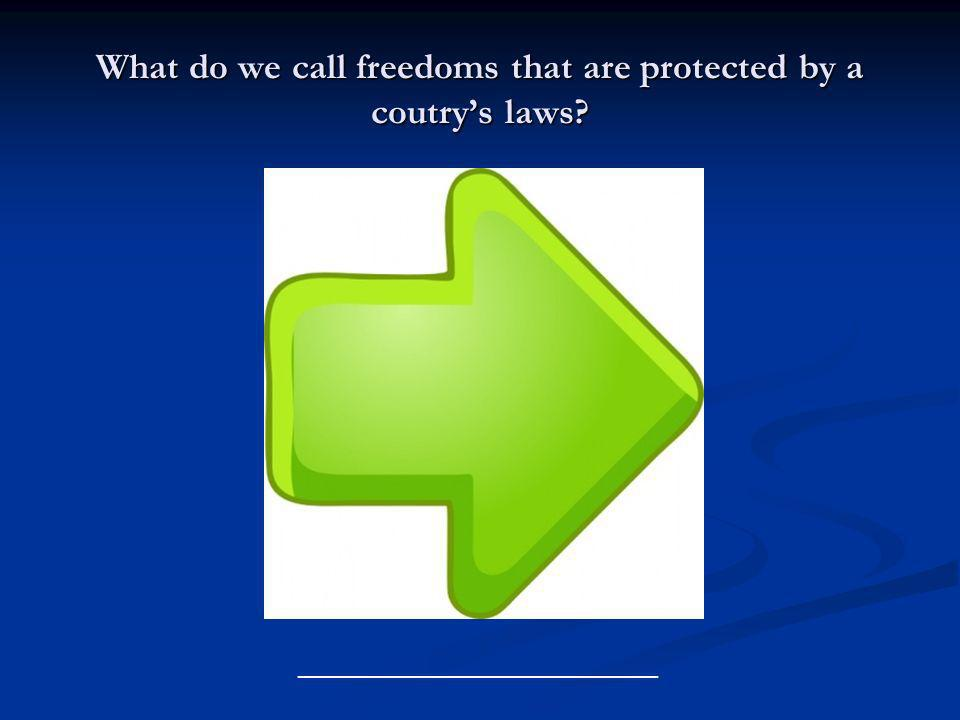 What do we call freedoms that are protected by a coutrys laws? ______________________________