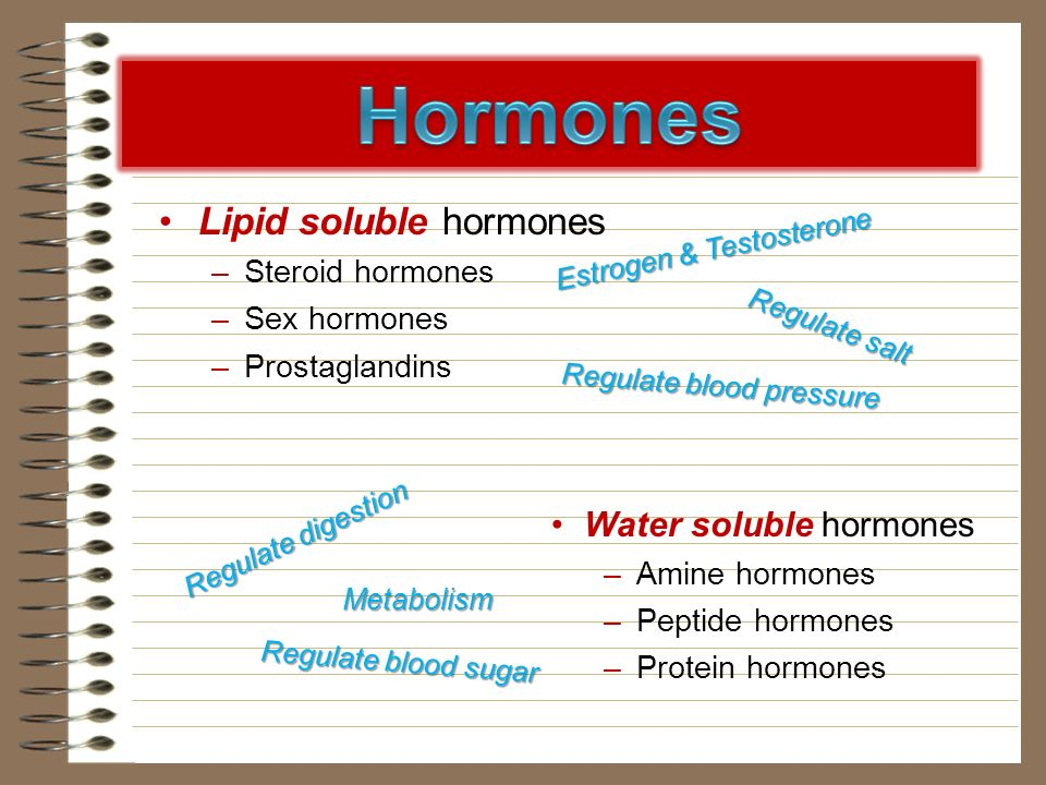 Water soluble hormones –Amine hormones –Peptide hormones –Protein hormones Lipid soluble hormones –Steroid hormones –Sex hormones –Prostaglandins Estr