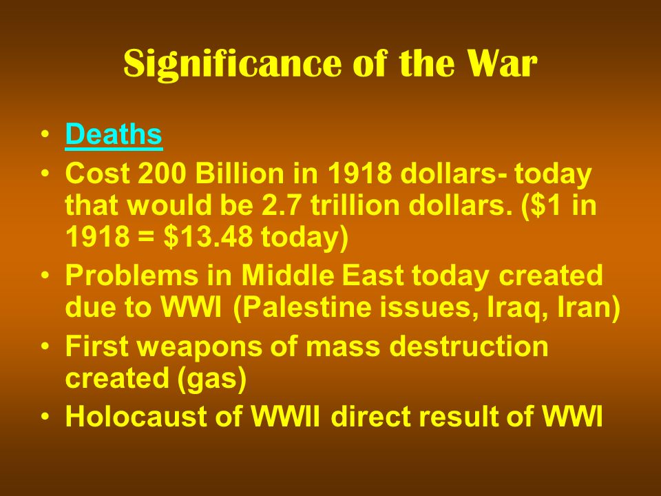 Significance of the War Deaths Cost 200 Billion in 1918 dollars- today that would be 2.7 trillion dollars.