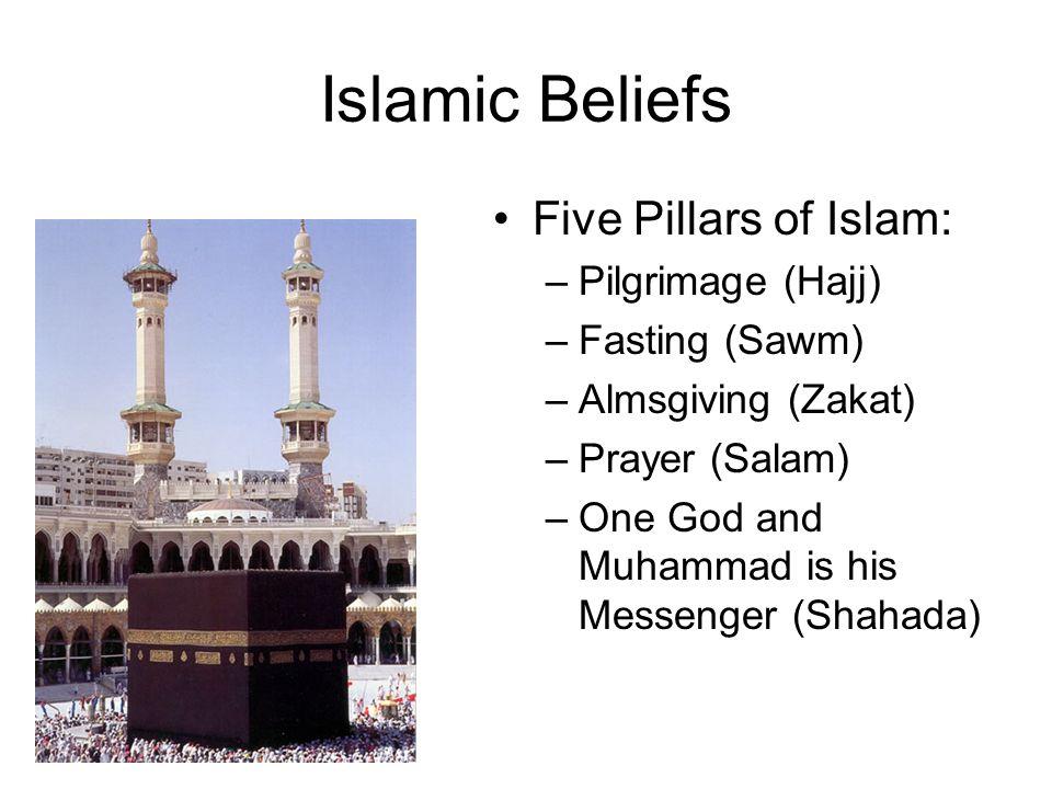 Islamic Beliefs Five Pillars of Islam: –Pilgrimage (Hajj) –Fasting (Sawm) –Almsgiving (Zakat) –Prayer (Salam) –One God and Muhammad is his Messenger (