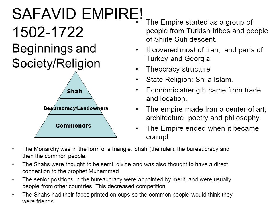 SAFAVID EMPIRE! 1502-1722 Beginnings and Society/Religion The Monarchy was in the form of a triangle: Shah (the ruler), the bureaucracy and then the c