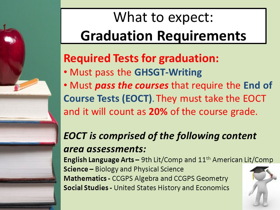 What to expect: Graduation Requirements Required Tests for graduation: Must pass the GHSGT-Writing Must pass the courses that require the End of Cours