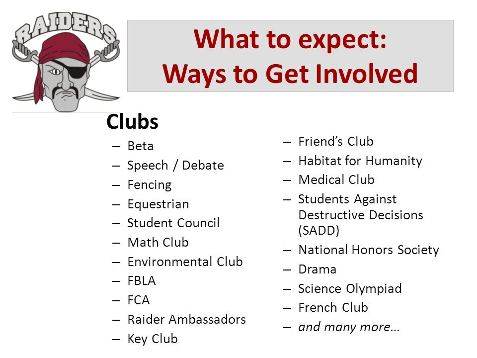 What to expect: Ways to Get Involved Clubs – Beta – Speech / Debate – Fencing – Equestrian – Student Council – Math Club – Environmental Club – FBLA –