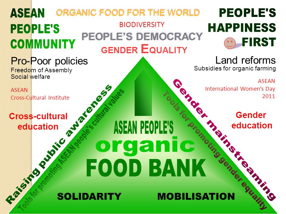 ASEAN Cross-Cultural Institute BIODIVERSITY ORGANIC FOOD FOR THE WORLD Cross-cultural education Gender education Pro-Poor policies Freedom of Assembly