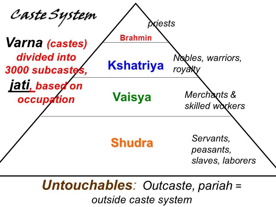 Brahmin Kshatriya Vaisya Shudra Caste System priests Nobles, warriors, royalty Merchants & skilled workers Servants, peasants, slaves, laborers Untouchables: Outcaste, pariah = outside caste system Varna (castes) divided into 3000 subcastes, jati, based on occupation