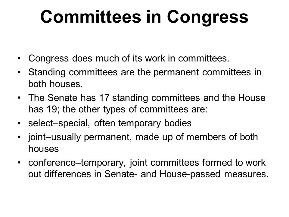 Committees in Congress Congress does much of its work in committees. Standing committees are the permanent committees in both houses. The Senate has 1