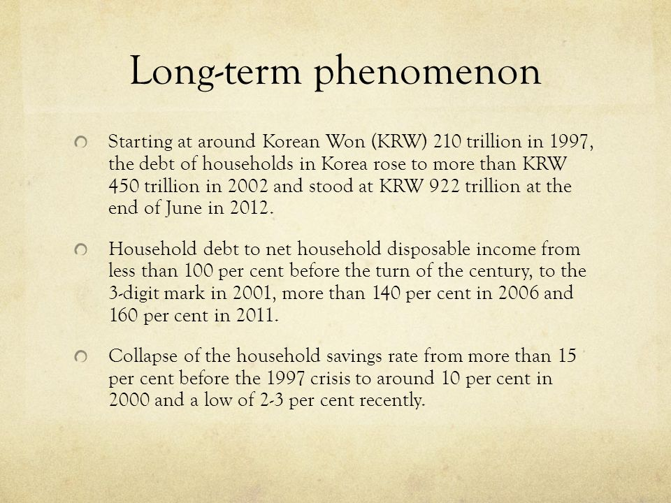 Long-term phenomenon Starting at around Korean Won (KRW) 210 trillion in 1997, the debt of households in Korea rose to more than KRW 450 trillion in 2002 and stood at KRW 922 trillion at the end of June in 2012.