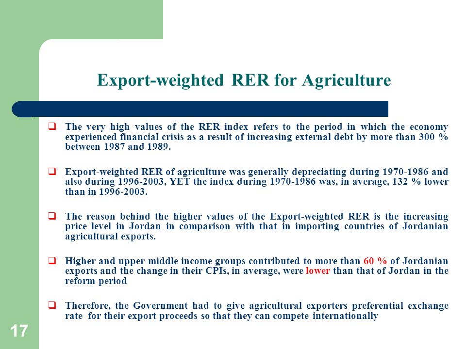 17 Export-weighted RER for Agriculture The very high values of the RER index refers to the period in which the economy experienced financial crisis as
