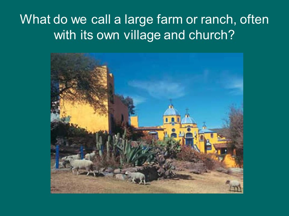 What do we call a large farm or ranch, often with its own village and church