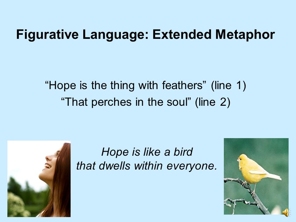 Figurative Language: Extended Metaphor Hope is the thing with feathers (line 1) That perches in the soul (line 2) Hope is like a bird that dwells with