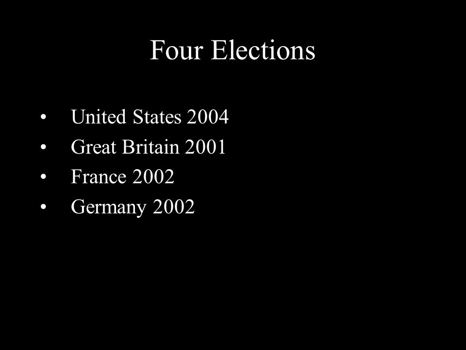 Four Elections United States 2004 Great Britain 2001 France 2002 Germany 2002