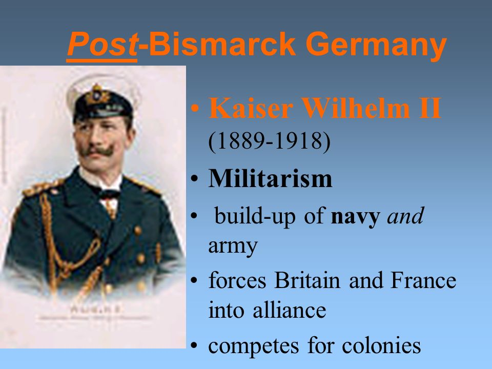 Problems following Unification Alliance system Empire dominated by Prussia Suppression of Catholics Growth of Socialism Dismissal of Bismarck