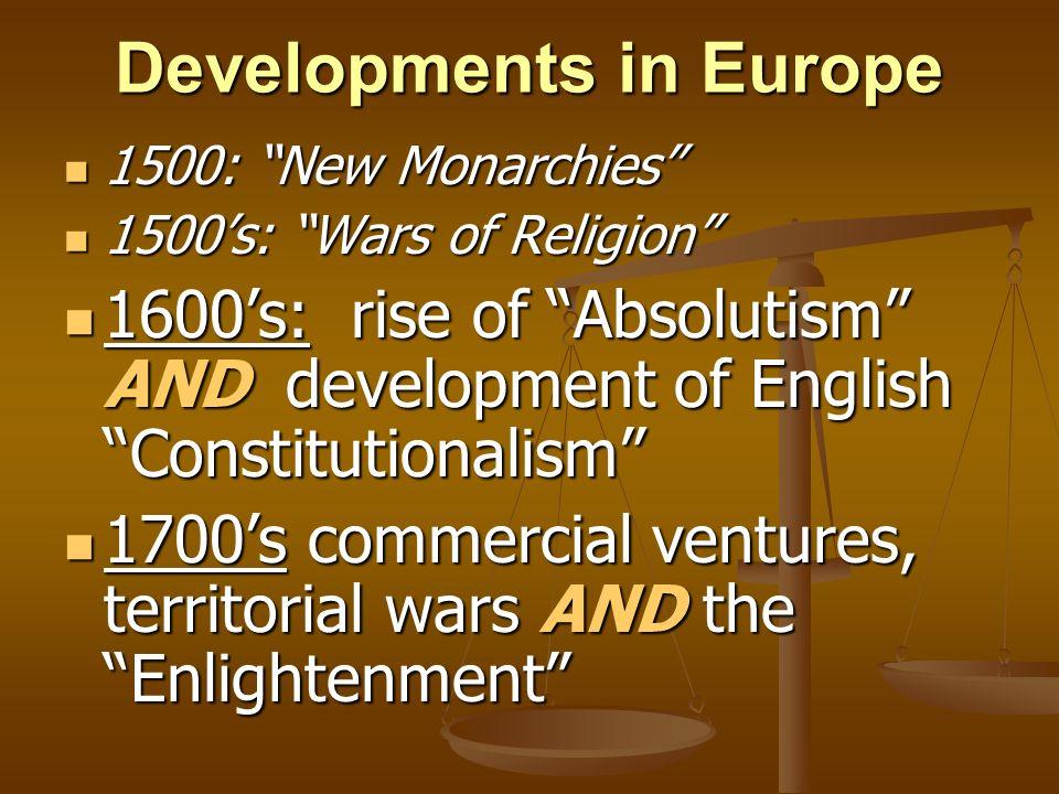 Political Developments in Europe 1600-1750