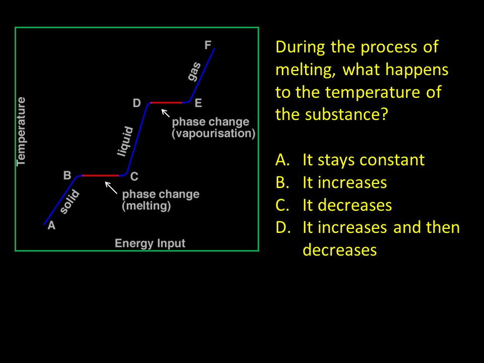 During the process of melting, what happens to the temperature of the substance? A.It stays constant B.It increases C.It decreases D.It increases and