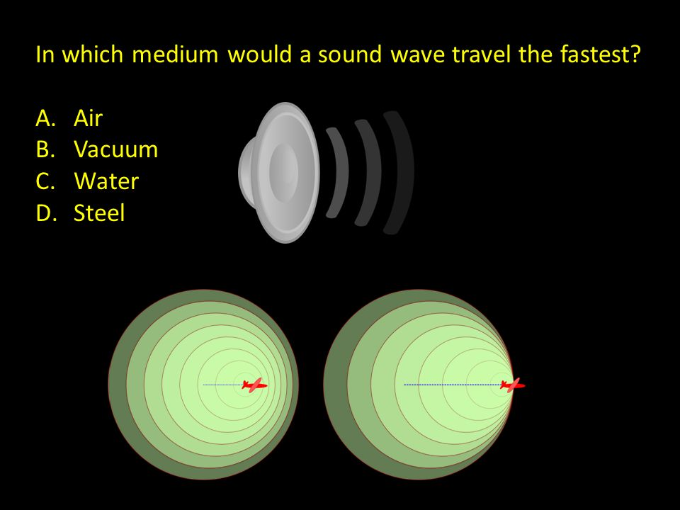 In which medium would a sound wave travel the fastest? A.Air B.Vacuum C.Water D.Steel