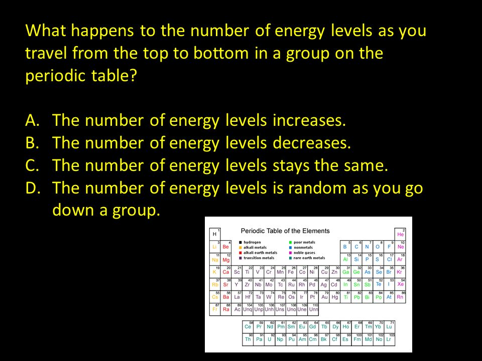 What happens to the number of energy levels as you travel from the top to bottom in a group on the periodic table? A.The number of energy levels incre