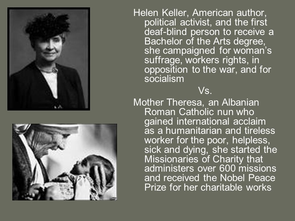 Helen Keller, American author, political activist, and the first deaf-blind person to receive a Bachelor of the Arts degree, she campaigned for womans