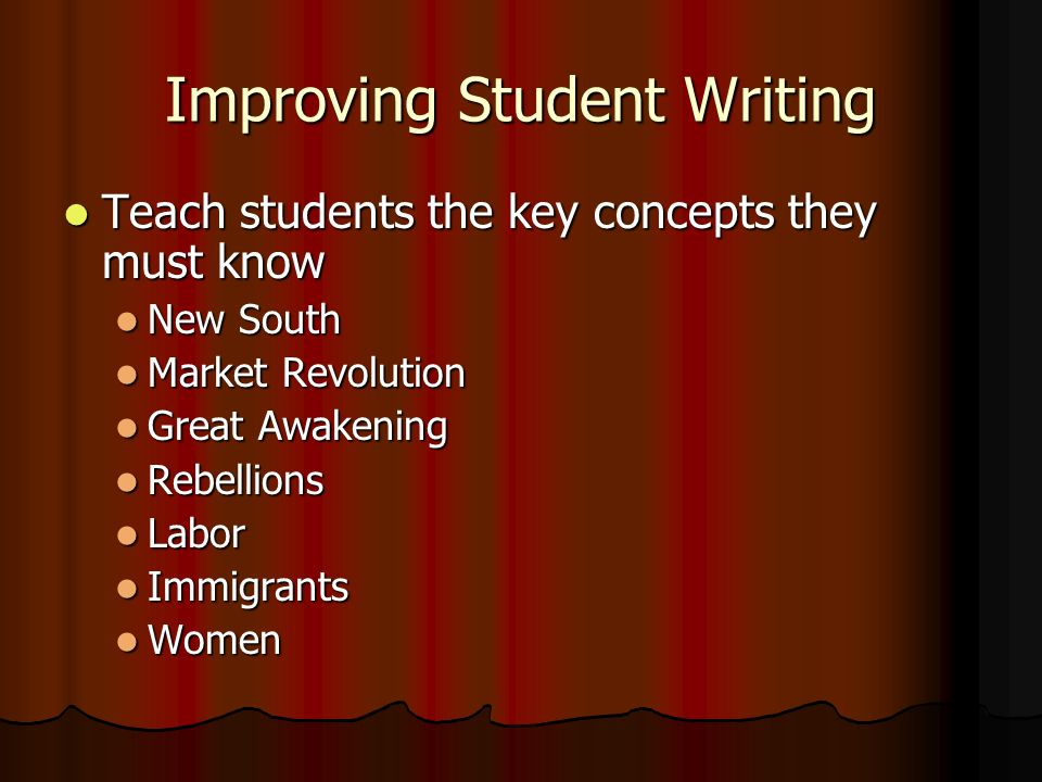 Improving Student Writing Teach students the key concepts they must know Teach students the key concepts they must know New South New South Market Rev