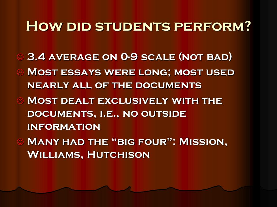 How did students perform? 3.4 average on 0-9 scale (not bad) 3.4 average on 0-9 scale (not bad) Most essays were long; most used nearly all of the doc