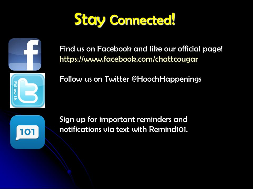 Stay Connected ! Find us on Facebook and like our official page! https://www.facebook.com/chattcougar Follow us on Twitter @HoochHappenings Sign up fo