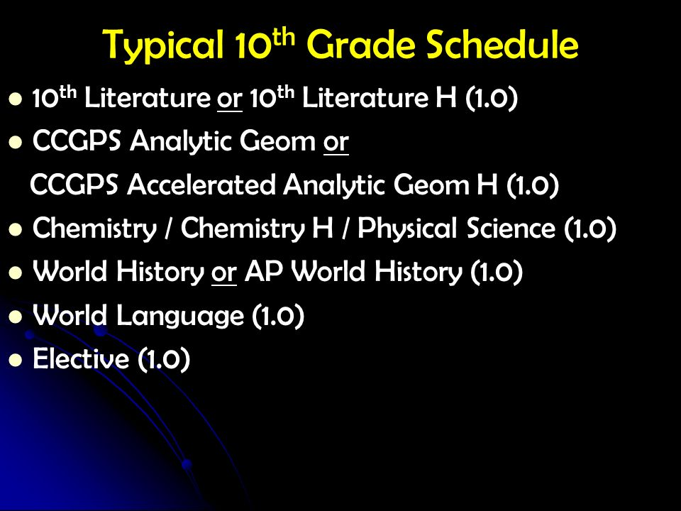Typical 10 th Grade Schedule 10 th Literature or 10 th Literature H (1.0) CCGPS Analytic Geom or CCGPS Accelerated Analytic Geom H (1.0) Chemistry / C