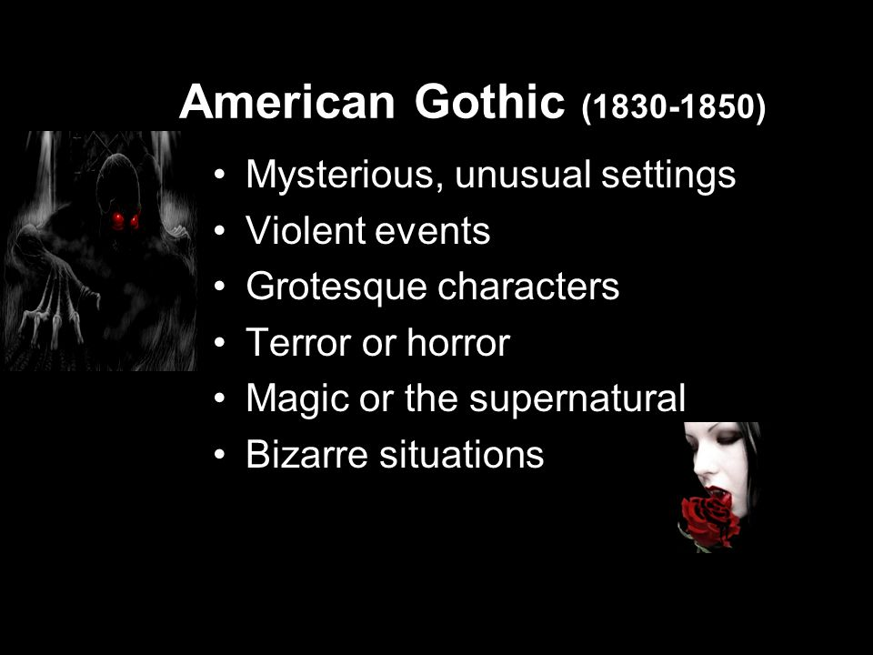Notable Gothic Author Edgar Allan Poe The Raven, The Pit and the Pendulum, The Tell-Tale Heart, The Cask of Amontillado, The Black Cat, The Masque of the Red Death