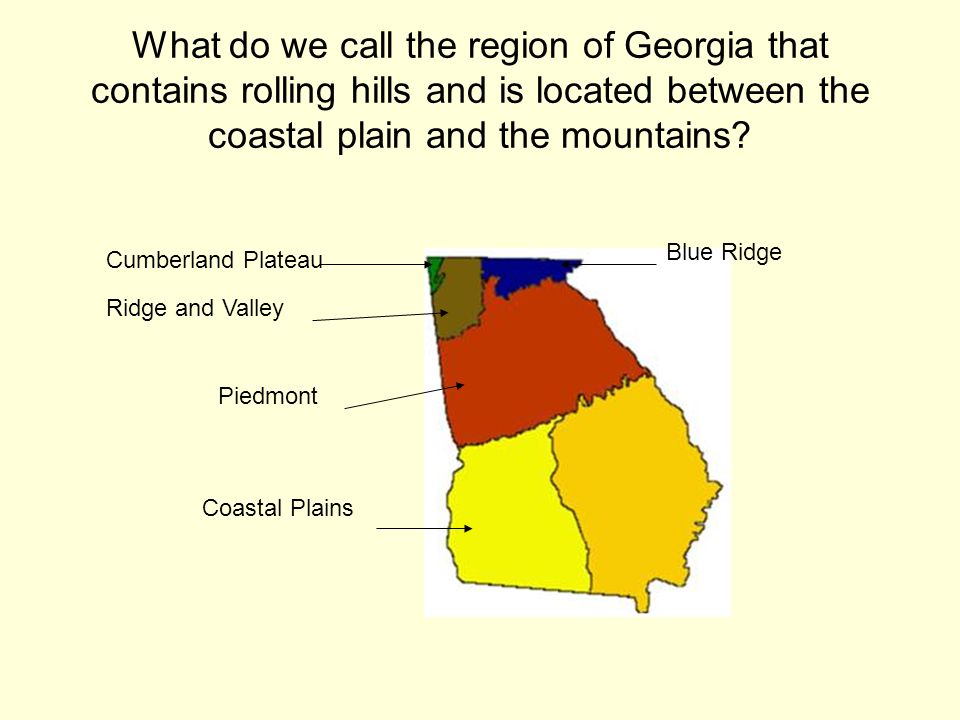 What do we call the region of Georgia that contains rolling hills and is located between the coastal plain and the mountains? Cumberland Plateau Ridge